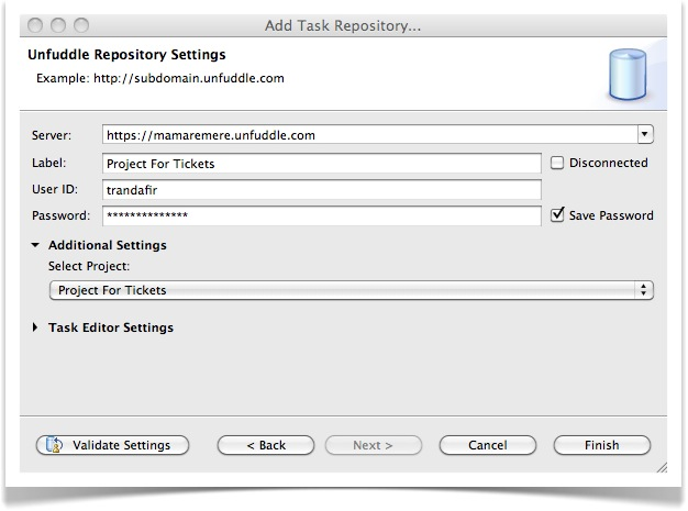 Edit Unfuddle Repository Settings