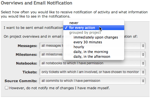 Personal email notification settings in an Unfuddle account