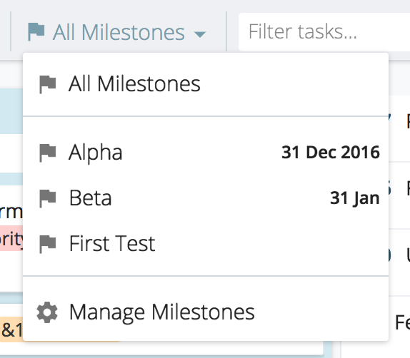 Filtering By All Milestones
