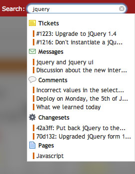 Instant search -- find the ticket, bug, issue, commit faster